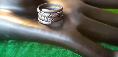 Roman  silver coiled Snake Ring 3rd century 4th century AD