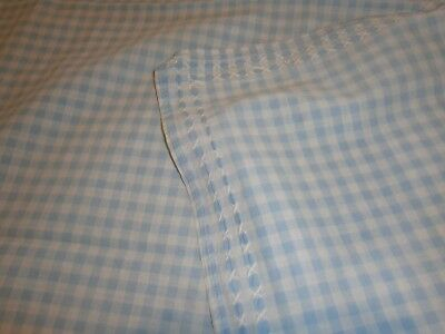 Vintage Blue & White Check Tablecloth With Hand Embroidered X's At Outer Edge