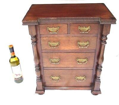 Antique Miniature Mahogany Table Top Chest Apprentice Piece Collector Cabinet