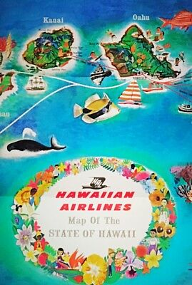 Vintage 1962 Hawaii Poster Map Hawaiian Airlines 60s Airline Travel Brochure LOT