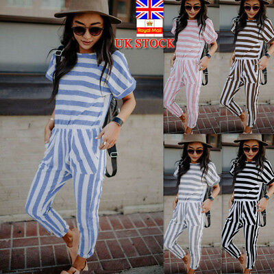 UK Womens Striped Short Sleeve Jumpsuit Summer Beach Casual Long Pant Playsuit