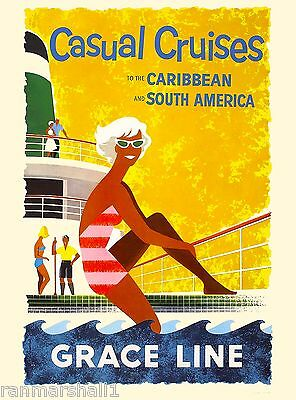Caribbean South America Cruises Oceanliner Vintage Travel Advertisement Poster