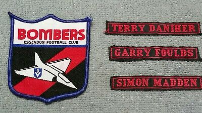 4 x ESSENDON BOMBERS VFL/AFL 80's PLAYER PATCHES BADGES- DANIHER/FOULDS/MADDEN
