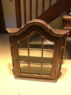 Wall mounted wooden display case cabinet