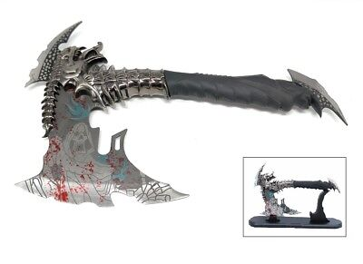 New Fantasy Dragon Axe Vampire Demon Skull Blooded Blade w/Wooden Display Stand