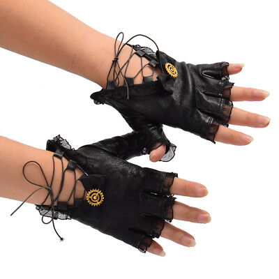 Vintage Gothic Lolita Steampunk Gear Glove Black PU Lace Up Bow Costume Glove