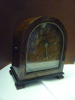 Top Quality French Art Deco Period Amboyna Cased Timepiece Mantle Clock FWO