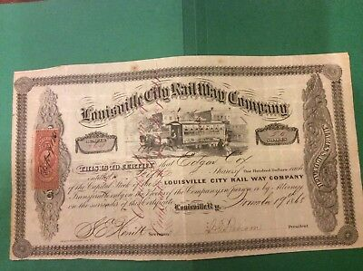 1868 Louisville City Rail Way Stock Certificate EXC