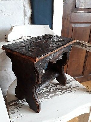 antique embossed leather pine stool rare piece arts and crafts