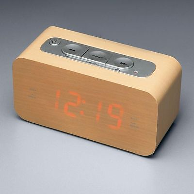 Wood-Style Block Clock/Radio/AUX Smartphone connection/Alarm/Digital Brown