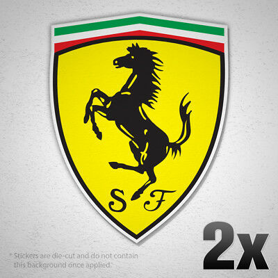 (2x) FERRARI EMBLEM Classic Logo Vinyl Sticker Decal Side Fender Trunk New