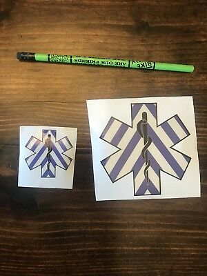 1- B/W Star of Life EMS Medic EMT Chevron Reflective 3M Helmet Sticker Decal 2""