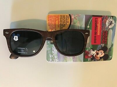 NWT Disney Mickey Mouse Surf Kids Sunglasses Faux Wood 100% UV Glare Protection