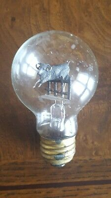 Rare Antique Light Bulb With Mountain Goat Jumping Over Fence