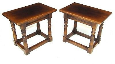 PAIR Antique Style Oak Joint Stools / Lamp Tables / Stands / Occasional Tables