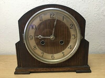 Comet Mauthe Movement Mantel Clock.Art Deco style Oak Cased