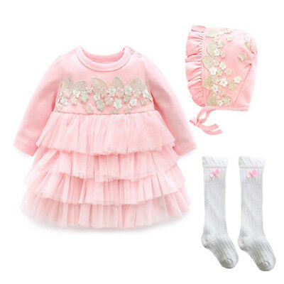 Baby infant clothes girls dress+hat+stocking pageant TUTU dress baby photo props
