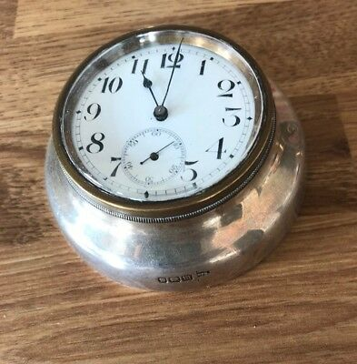 Hallmarked Soild Silver Travel / Desk Clock Made By Walker And Hall