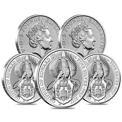 Lot of 5 - 2017 Great Britain 2 oz Silver Queen's Beasts (Griffin) Coin BU