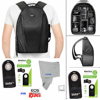 Vivitar Camera Backpack Bag + Remote For Canon Eos Rebel 5D 6D 7D 80D 70D