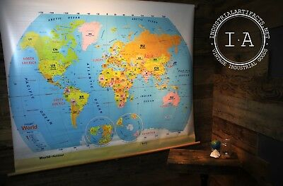 Vintage Classroom Pull Down World Map