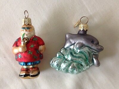 2 Radko Ornaments Dolphins Beach Comber Jr  Lot Little Gems