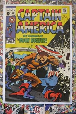 Captain America #121 - Jan 1970 - Man Brute! - Vg/fn (5.0) Cents