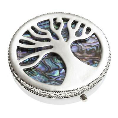 Tree of Life Pill Box Small Trinket Silver Plated Medicine Box Case Container