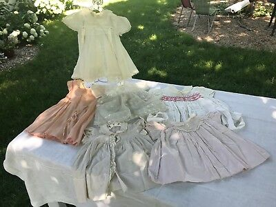 6 VTG Dresses Baby Girl Antique Dotted Swiss Organza Ruffle Embroider AS IS Lot