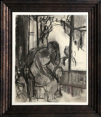 Ben Shahn, Woman in Chair by Window, Charcoal Drawing