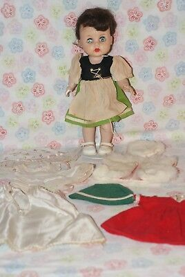 """PRETTY! Vintage 10"""" Littlest Angel R&B Hard Plastic Doll With Extra Clothes"""