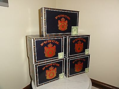 2608) One Lot Of 5 Empty Wood Punch Cigar Boxes Crafting Purses Storage Decor