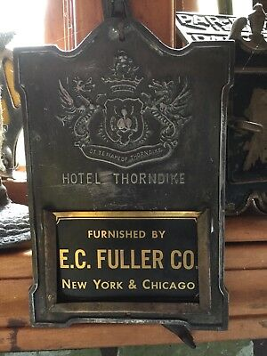 Antique Hotel Boston Chicago Brass Insert Advertising card holder SIGN PLAQUE AD
