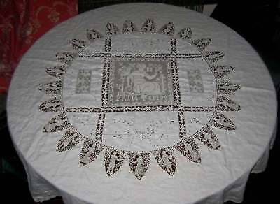 French ANTIQUE Crochet Lace Printemps 58 in. ROUND Linen Tablecloth - FINE WORK