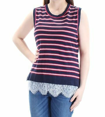 cc26f651cf7bed TOMMY HILFIGER  49 Womens New 1119 Navy Red Striped Lace Sleeveless Top M  B+B