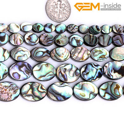 """Natural Multi Color Abalone Shell Oval Loose Stone Beads Jewellery Making 15"""" CA"""