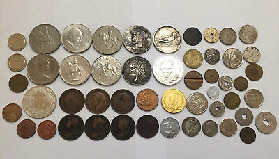 Job Lot of Coins Medals & Tokens Vintage Silvered Collectibles British etc +