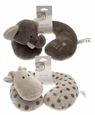 Elli & Raff Pair Neck Cushions  Embroidered Baby Cushions Birth Christening Gift