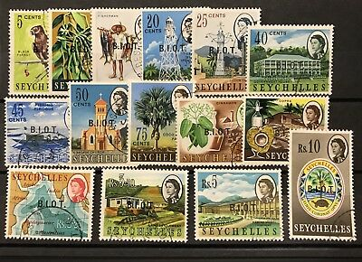 BRITISH INDIAN OCEAN TERRITORY 1968 Optd Set F/Used SG 1-15.