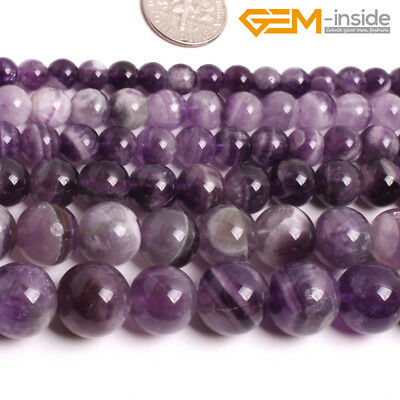Natural Purple Dream Lace Amethyst Round Stone Loose Beads For Jewellery Making