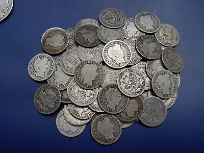 This is a very nice lot of 67 Barber dimes. Dates range from 1897-1916-S.