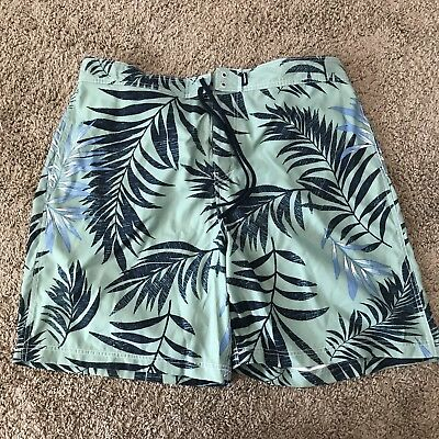 c666e291f5 Men's Nautica Lined Swim Trunks Board Shorts Size XXL Blue Green Floral  Leaves