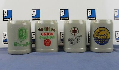 German Beer Mug STEINS Stoneware 0.5L Made in W. GERMANY LOT OF 4