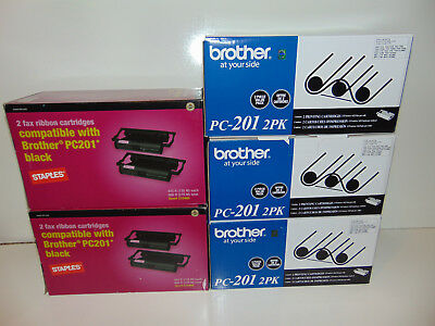 NEW Lot of 10 Brother PC-201 PC201 6 Genuine 4 Staples Printing Cartridge Sealed
