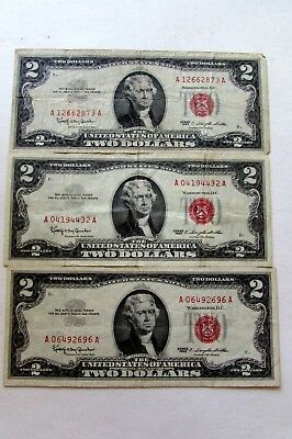 THREE  UNITED STATES  1963  LEGAL TENDER TWO DOLLAR NOTES Fr# 1513