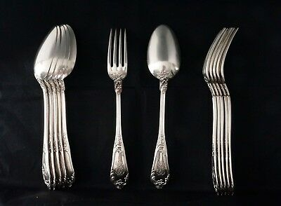 Antique Set of 12 French Sterling Silver .950 Diner Forks & Spoons, France 19c.