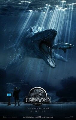 JURASSIC WORLD MOVIE POSTER 2 Sided ORIGINAL RARE Version C 27x40 CHRIS PRATT