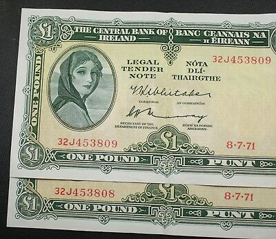 Ireland - 1971 Sequential Pair Irish Lavery £1 Notes EXTRA FINE Banknote P64