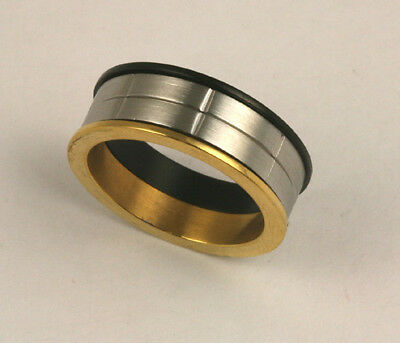 Men Women 316L Stainless Steel Tri-Color Ring 8mm Band Size 9 - 10 NEW SS140