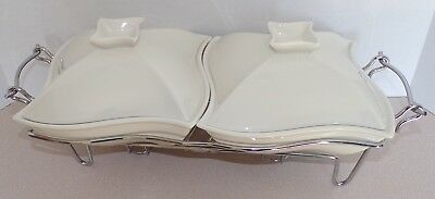 Sienna by Godinger Ceramic Double Warmer Chafing Dish with Serving Stand